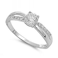 WOMENS LADIES 925 STERLING SILVER CZ SOLITAIRE FANCY WEDDING ENGAGEMENT RING.