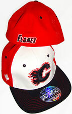 ZEPHYR CALGARY FLAMES NHL TC WHITE/RED/BLACK FLAT BRIM FLEXFIT HAT CAP NEW