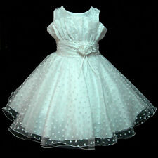 W8811 White Church Christening Wedding Party Flowers Girls Dress SIZE 2,4,6,8,10