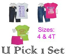 GIRLS 2 PIECE SHIRT SHORTS SET SIZE 4 4T UNDER ARMOUR NIKE LEVI'S SUMMER OUTFIT
