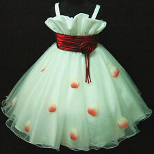R818 Reds White Fairytale Party Dress Up Flower Girls Dress SIZE 2-3-4-5-6-7-8-9