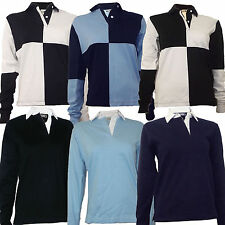 Rugby Shirt Ladies Womens 100% Cotton Size S to 2XL Plain or Harlequin New