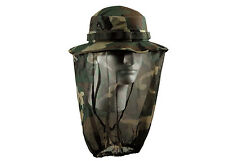 US MILITARY ARMY JUNGLE CAMPING BOONIE WOODLAND CAMO MOSQUITO NETTING NET HAT