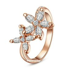 star flower ring clear Austrian crystal ring fashion jewelry rose gold GP R332