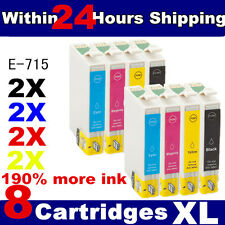8 Non-OEM T0711 T0712 T0713 T0714 T0715 Cheap Ink Cartridges for Epson Printers
