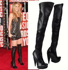 $1,895 BALENCIAGA OVER THE KNEE BOOTS BLACK STRETCH LEATHER