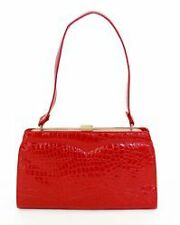 Vintage Style Faux Crocodile Purse in Red or Black Rockabilly Pinup Retro 1950s