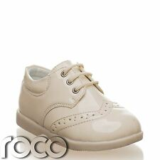 Baby Boys Cream Brogue Patent Lace Up Formal Shoes Flexible Sole for Comfort 1-8