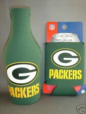 GREEN BAY PACKERS BEER SODA WATER BOTTLE ZIPPER & CAN KOOZIE HOLDER NFL FOOTBALL