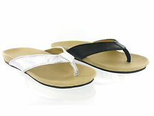 Move On Leather Flat Toepost Mule Black Silver Womens Sandals Size 3-8 UK