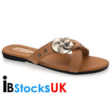 Ladies Womens Sandals Mules Beach Summer Shoes Size 3 4 5 6 7 8 Tan 15902