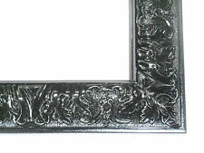 Small Gloss Black Victorian Wood Ornate Picture Frame-Custom Standard Sizes