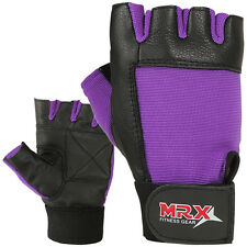 Women's Weight Lifting Gloves Leather Fitness Gym Training Velcro Black Purple