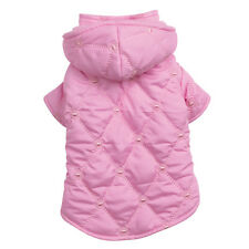 Pink Pastel Quilted Dog Parka Coat w/ detachable hood pet Jacket all sizes to L