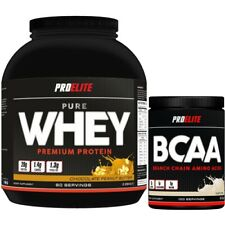 100% Pure Whey Protein Isolate Concentrate 2.25kg Powder + Pro Elite BCAA 500g