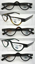 (R324H)Plastic Reading Glasses + H1  Hard Case. Spring Arms/Vintage Inspired