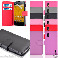 For LG NEXUS 4 E960 Soft PU Leather Flip Wallet Case with free screen protector