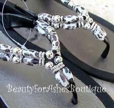 GrandCo Wild Beaded Animal Black Thong Flip Flop Resort 25223E Cheetah Sandals