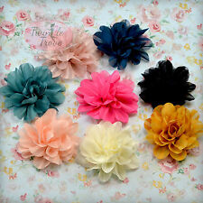 7cm Chiffon Feel Fabric Flower Girl Hair Clips Grips Prom Bridesmaid Festival