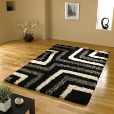 Large Small Modern Quality Shaggy Black Grey Rug Runner in 6 Different Sizes