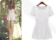Womens Hollow Lace Pleated waist Jumpsuits Rompers Short pants Playsuit Jumpsuit