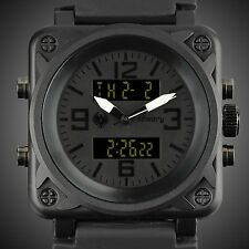 INFANTRY MILITARY Mens Sports Alarm LCD Digital Quartz Wrist Watch Black Rubber