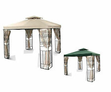 12'x12' Two-tiered Replacement Canopy Top Patio Gazebo Cover Shade Beige Greeen
