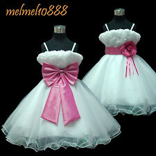 USMD70 H.Pink *2 Way Wear*Dance Christmas Wedding Flower Girl Dress 1 to 14  Yrs