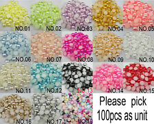 100pcs Half Round Pearl Bead Flat Back Size 8mm Scrapbook for Craft Pick colors