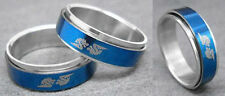 R051S charm men dragon spin stainless steel cool blue ring you pick size New