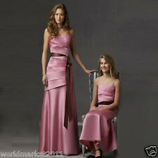 Manual Customized Sexy Satin Strapless V-Collar Pink Wedding Party Long Dress