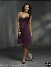 Manual Customized Sexy Satin Strapless Purple Wedding Party Mid-Length Dress