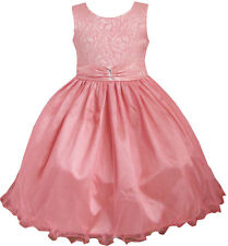 Girls Dress Coral Multi-layers Diamond Pageant Wedding Kids Boutique SZ 2-12 Y