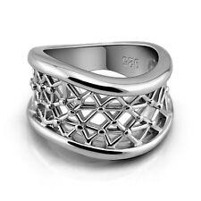 Genuine Solid Sterling Silver Wavy Mesh Comfort Fit Ring Size 6 7 8 9 10 PR002