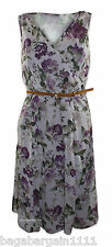 RRP £42 NEW LADIES UK CHAINSTORE PURPLE GREY GREEN FLORAL SUMMER MOCK WRAP DRESS