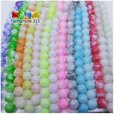 30 pcs 8mm Round Chic Glass Loose Spacer Beads Pick Summer Colors Mixed New G09