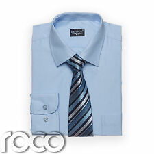 Boys Glacier Blue Shirt Tie set for Formal Prom Pageboy Wedding Suits