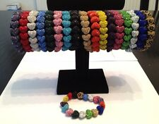 SHAMBALLA SPARKLY STRETCHY 15mm HEART BRACELET-CZECH CRYSTALS-17 DIFFERENT COLOR