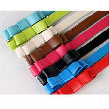 Women Lady Slender Waist Belt Bowknot Candy Color Thin Skinny Waistband Belt
