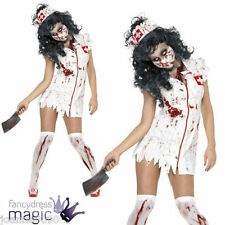 SEXY HALLOWEEN ZOMBIE BLOOD STAINED WHITE NURSE FANCY DRESS NHS COSTUME UNIFORM