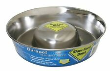 Our Pet Durapet NO SKID SLOW FEED Stainless Steel Food DOG Bowl CHOOSE SIZE