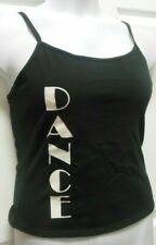 NWT Black Dance Camisole  Ladies Szs Dancer Cotton Spndx White Screenprint