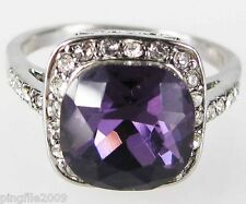 Size 6,7,8,9 Jewelry Woman's Amethyst White Topaz 10KT White Gold Filled Ring