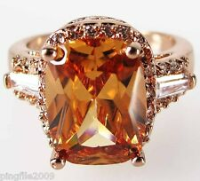 Size 7,8,9,10 Woman's Champagne Topaz White Topaz 10KT Rose Gold Filled Ring