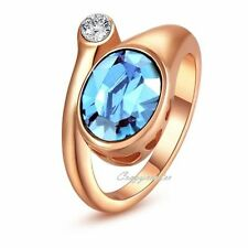 Blue Austrian Crystal Cocktail ring Rose gold plated Women Xmas gift R454