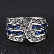 Fancy Jewelry Size 9,10,11 Mens Sapphire 10KT White Gold Filled Cocktail Ring