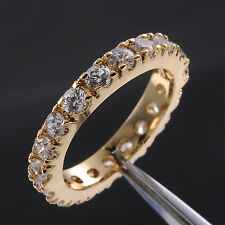 Size 7,8,9 Deluxe Jewelry Ladys Full White Sapphire 10KT Yellow Gold Filled Ring