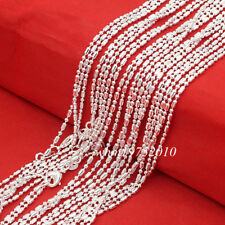 Wholesale 10/20/50 Pc 925 Sterling Silver Plated 1.5mm Bar & Bead Chain Necklace