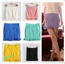 Fashion New lady girls Candy Color Stretch Slim Scalloped Flouncy Skirt 7 Colors