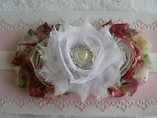 Vintage Shabby Chic Triple Rose Headband